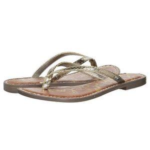 Sam Edelman Gracie Gold Embossed Flip Flop Sandals